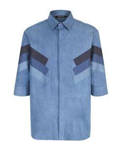 Neil Barrett | Рубашка Свободного Кроя Из Смеси Хлопка И Шелка С Контрастной Отделкой