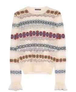 Alexander McQueen | Шелковый Полупрозрачный Пуловер С Круглым Вырезом