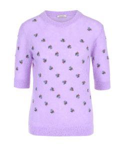 Nina Ricci | Вязаный Пуловер Прямого Кроя С Коротким Рукавом