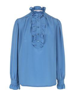 Stella Mccartney | Шелковая Блуза С Оборками И Воротником-Стойкой