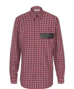 Givenchy | Хлопковая Рубашка В Клетку С Нашивкой Из Натуральной Кожи