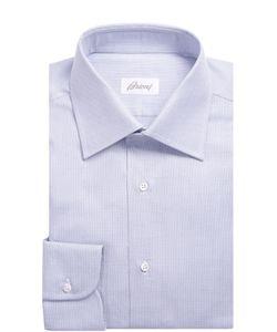 Brioni | Хлопковая Рубашка В Клетку С Воротником Кент