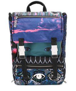 Kenzo | Текстильный Рюкзак С Клапаном И Отделкой Из Натуральной Кожи