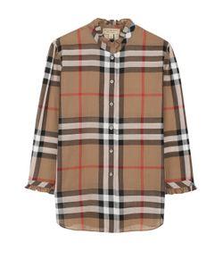 Burberry | Хлопковая Блуза В Клетку С Укороченным Рукавом