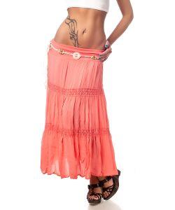 Catch Fashion | Розовая Юбка С Оборками