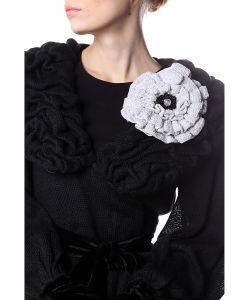 SEANNA | Брошь Цветок Мак Серебряный Вязаный Вручную С Густо Расшитой Серединкой Жемчугом
