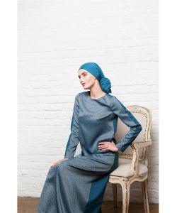 Bella Kareema | Платье Из Костюмной Ткани Двухцветное