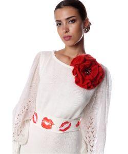 SEANNA | Брошь-Цветок Вязаный Вручную Крупный Мак С Серединкой Густо Расшитой Камнями