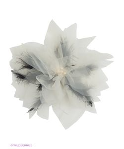 SEANNA | Брошь-Цветок Из Молочной Органзы С Черными Перьями