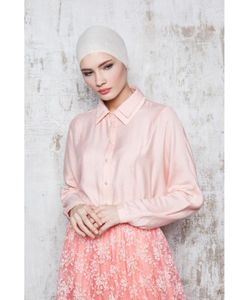 Bella Kareema | Блуза На Пуговицах С Кружевным Воротником Персиковая