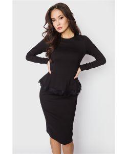 Welldress | Платье Черное С Кружевом По Баске
