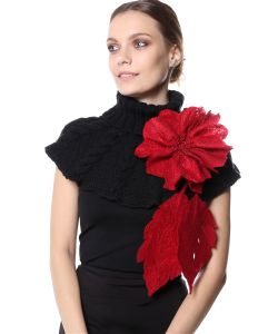 SEANNA | Брошь Цветок Валяный Рубиновый Гибискус Крупный С Густо Расшитой Серединкой