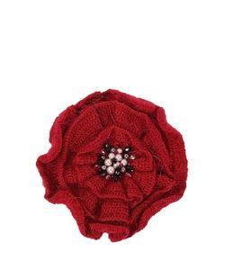 SEANNA | Брошь-Цветок Вязаный Мак С Густо Расшитой Серединкой Натуральным Жемчугом Стразами Swarovski