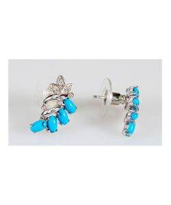 Lotus Jewelry | Серьги Rh Бирюза Ягодная Гроздь
