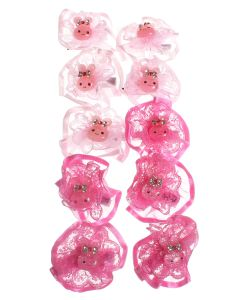 Радужки | Заколки Дл Волос С Зайками В Розовых Бантах Набор 5 По