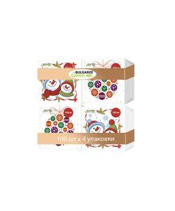 Bulgaree Green | Набор Из 4-Х Упаковок Однослойных Салфеток С Принтом Снеговики И Новогодние