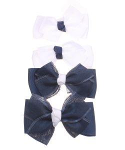 Радужки | Бантики На Резинке Большие Текстильные Сине-
