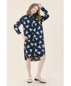 Monoroom | Платье-Рубашка Медведи На Синем Kw4 One-Size 42-46