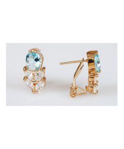 Lotus Jewelry | Серьги Фианит Кабошон С Колоском
