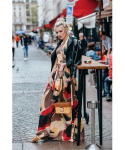 DEMURYA | Платье В Пол С Поясом Из Шифона