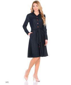 MeiLLer | Платье Джинсовое Расклешенное На Кнопках И С Поясом.