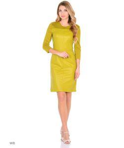 MeiLLer | Повседневное Эффектное Платье Из Плотного Трикотажа С Кожанной Вставкой Спереди И