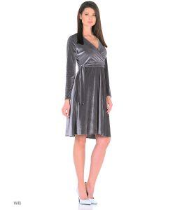 MeiLLer | Элегантное Платье С V-Образным Вырезом Горловины Из Серого Бархата Длины Миди.