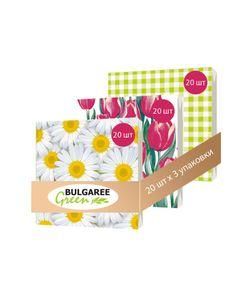 Bulgaree Green | Набор Весенние Цветы Из 3 Упаковок Трехслойных Салфеток С Рким Принтом