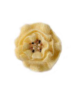 SEANNA | Брошь-Цветок Вязаный Вручную Мак Пушистый Экрю Расшитый Натуральным Жемчугом Стразами Swarovski