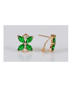 Lotus Jewelry | Серьги Фианит Цветочек Два Циркона