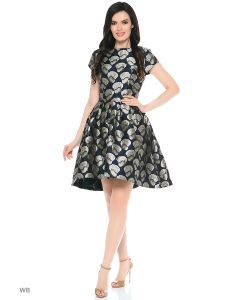 MeiLLer   Платье С Короткими Рукавами Оригинального Покроя.