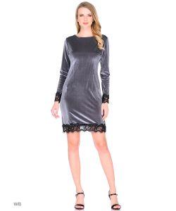 MeiLLer   Бархатное Платье С Кружевными Вставками