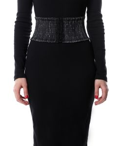 SEANNA   Пояс-Резинка Черное Серебро Широкий