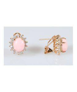 Lotus Jewelry | Серьги Коралл Овал В Цирконах