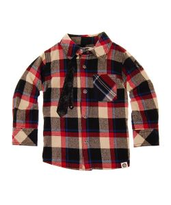 Mini Shatsu   Рубашка С Длинным Рукавом Neck Tie Plaid Shirt
