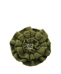 SEANNA | Брошь-Цветок Вязаный Вручную Мак Оливковый Расшитый Натуральным Жемчугом Стразами Swarovski