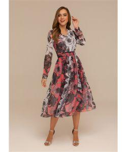 DEMURYA | Платье С Поясом Из Шифона С Бантом