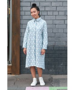 Monoroom | Платье-Рубашка Овечки На Голубом Kw2 One-Size 42-46