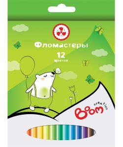 BOOM. | Фломастеры 12 Цветов Boom. Creativo С Цветным Вентилируемым Колпачком В Картонной
