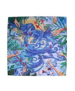 Оланж Ассорти | Платок С Авторским Арт-Принтом Птица Цвета Ультрамарин Из Твилла