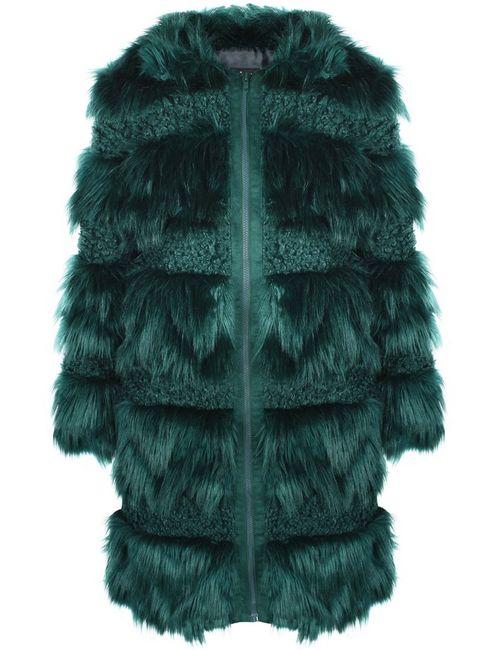 Anna Sui Vintage | Женская Зелёная Шуба Из Искусственного Меха