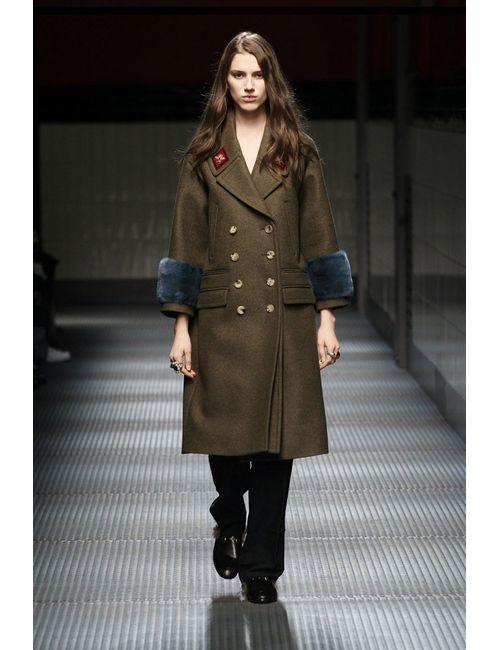 Gucci | Хаки Шерстяное Пальто С Отделкой Из Меха Норки