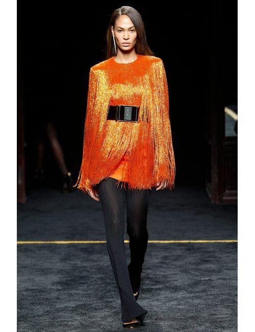 Balmain | Женское Оранжевое Платье С Бахромой