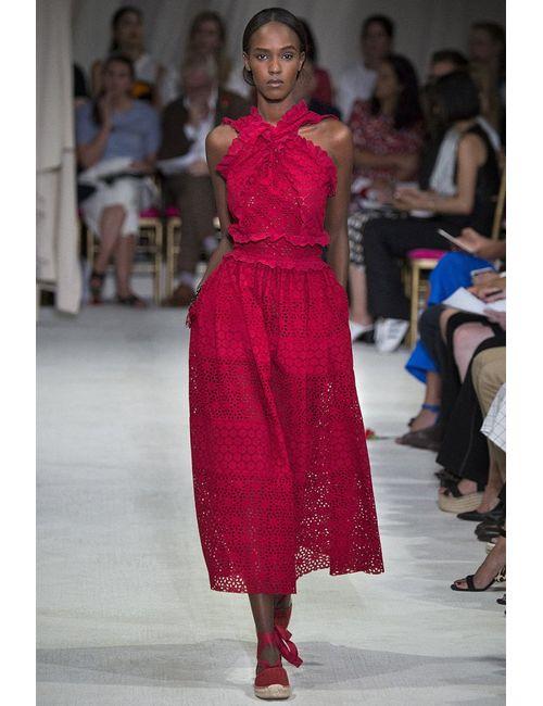 Oscar de la Renta | Красное Кружевное Платье