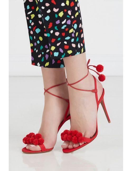 Aquazzura   Красные Босоножки Pon Pon Sandal