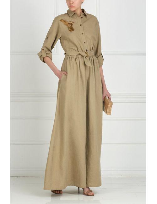 A La Russe | Женское Бежевое Платье Из Льна С Вышивкой Стеклярусом
