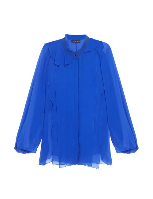 Chapurin | Женская Синяя Шелковая Блузка