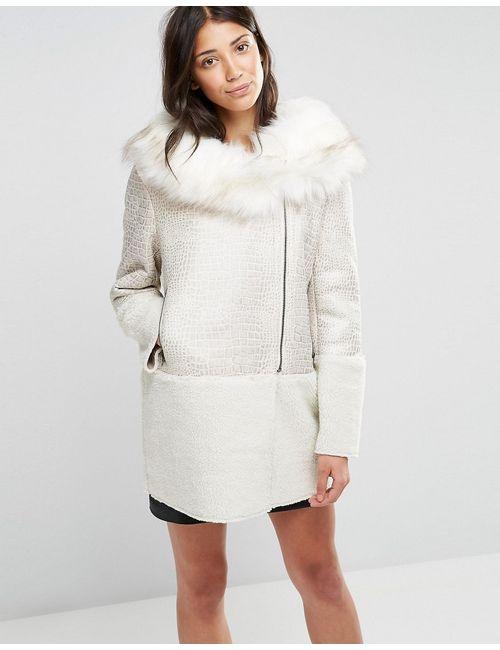 Glamorous | Женское Кремовое Пальто С Воротником Из Искусственного Меха