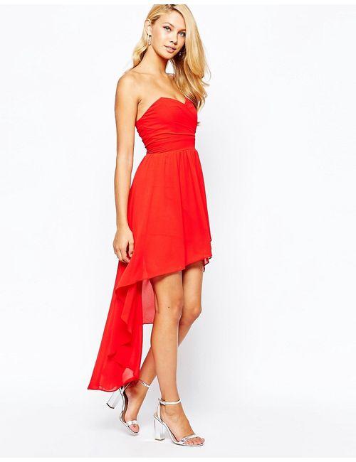TFNC | Женское Красное Платье Для Выпускного С Асимметричным Подолом