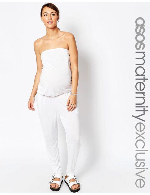 ASOS Maternity | Женский Белый Пляжный Комбинезон С Брюками-Галифе И Лифом-Бандо